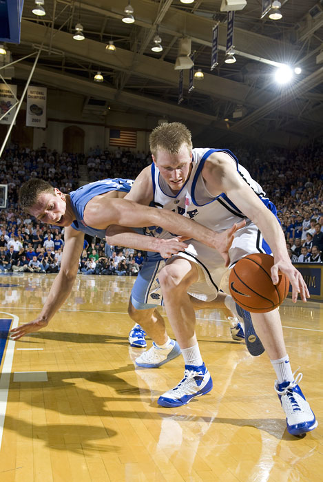 North Carolina Tar Heels forward Tyler Hansbrough battles Duke forward Kyle Singler.