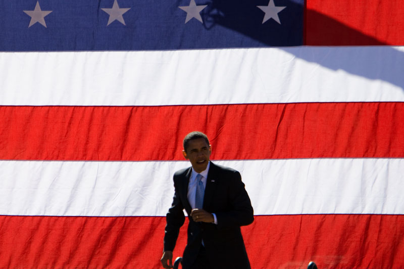 Senator Barack Obama at a campaign rally at Ed Smith Stadium in Sarasota, Florida Thursday, October 30, 2008.
