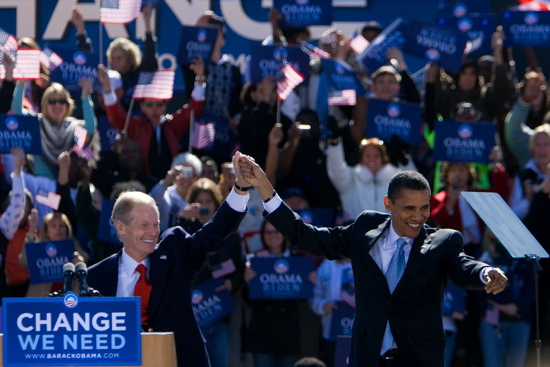 Senator Barack Obama is welcomed by Senator Bill Nelson at a campaign rally at Ed Smith Stadium in Sarasota, Florida Thursday, October 30, 2008.