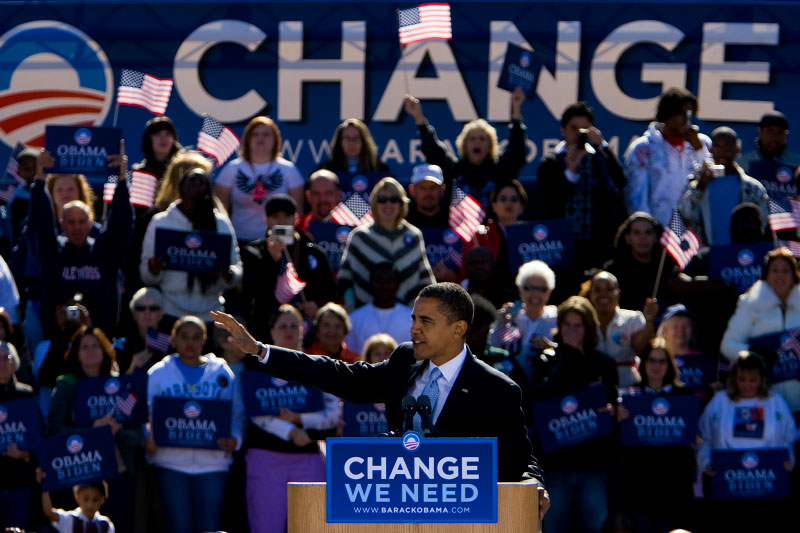 Senator Barack Obama speaks at a campaign rally at Ed Smith Stadium in Sarasota, Florida Thursday, October 30, 2008.