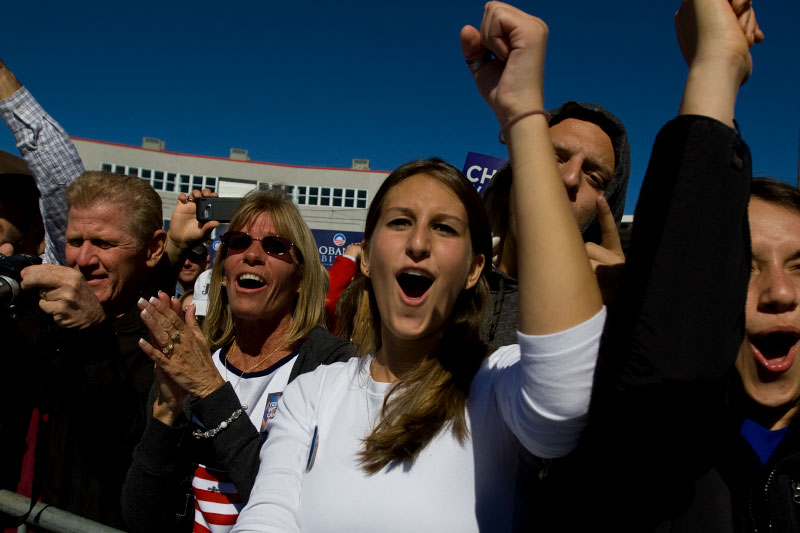 Senator Barack Obama supporters cheer  as he speaks during a campaign rally at Ed Smith Stadium in Sarasota, Florida Thursday, October 30, 2008.