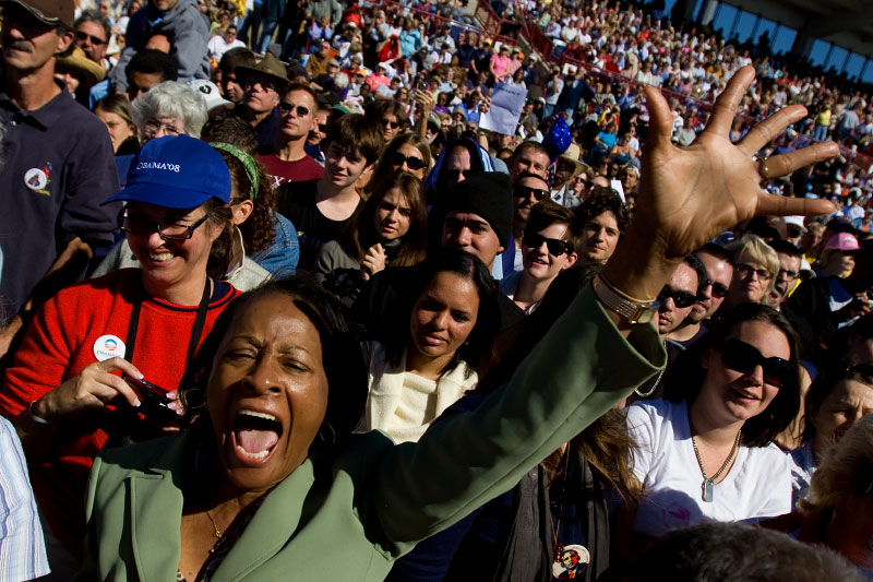 Senator Barack Obama supporters speaks during a campaign rally at Ed Smith Stadium in Sarasota, Florida Thursday, October 30, 2008.