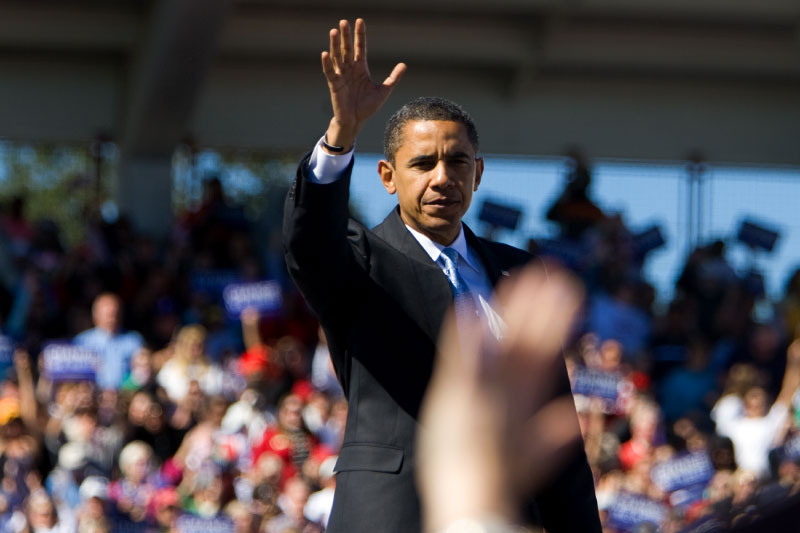 Senator Barack Obama speaks during a campaign rally at Ed Smith Stadium in Sarasota, Florida Thursday, October 30, 2008.