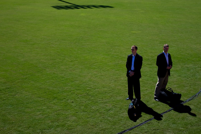 Secret Service agents on detail protecting Senator Barack Obama as he speaks during a campaign rally at Ed Smith Stadium in Sarasota, Florida Thursday, October 30, 2008.