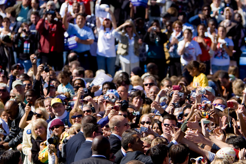Senator Barack Obama shakes hands with supporters during a campaign rally at Ed Smith Stadium in Sarasota, Florida Thursday, October 30, 2008.