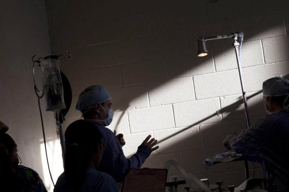 Dr Leo Egar prepares for surgery.