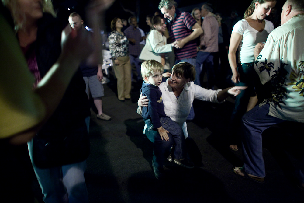 Katie Baer and her son Wade Baer-Bukowski, 3 enjoy a night out at a music concert in Richmond,  California.