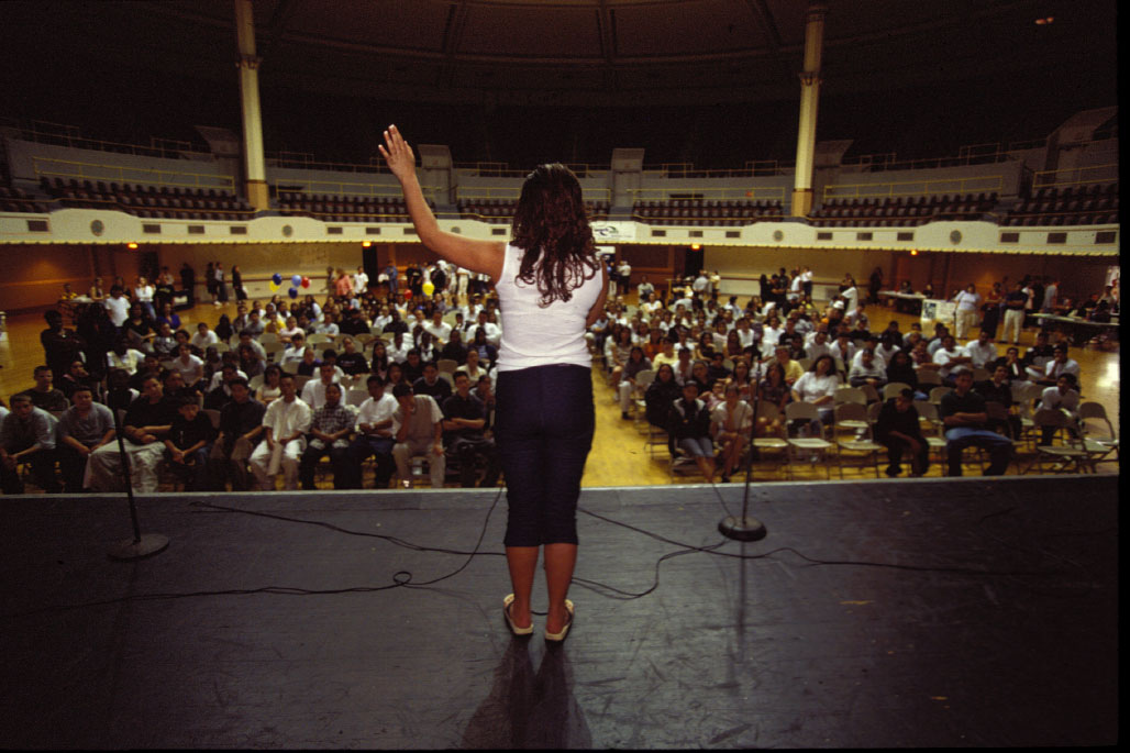 On stage at a school rally Stephanie {quote}comes out{quote} and tells her classmates that she has AIDS.