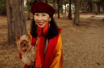 Author Amy Tan enjoys a walk in the Presidio of San Francisco.