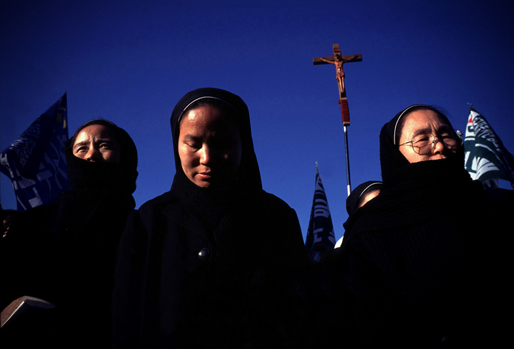 Catholic Nuns take part in a labor protest in Seoul, South Korea.