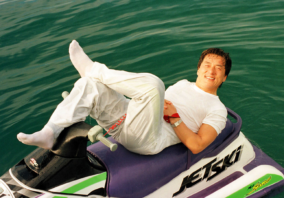 International movie star Jackie Chan takes a break during filming the movie, Dangerous, in Hong Kong, China.