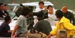 Jackie Chan goes through some ideas for a scene with the film crew on location in Sai Kung, Hong Kong