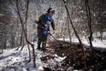 HALO deminer Qristine Khachatryan works to clear an anti-personnel minefield in Karegah, near Lachin town