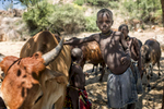 May 5, 2018: KANENGUERERE, ANGOLA -A group of boys from the Mucabal ethnic group who herd cattle in the area around Kaneguerere clown around on the banks of the river.   Ugubos (center) and his friends Mugeira (L) and Aluao (R), and other nomadic herders bring their livestock through uncleared minefields everyday.  While, they are taught safe ways to go, there are still occasional accidents, especially with the animals.  Mainha is thrilled that HALO is clearing the area, and he and his friends have seen mines and pointed them out to HALO team members.  The area was mined during the civil war by government forces to protect the nearby railway line that can be seen in the background, as well as various troop positions.