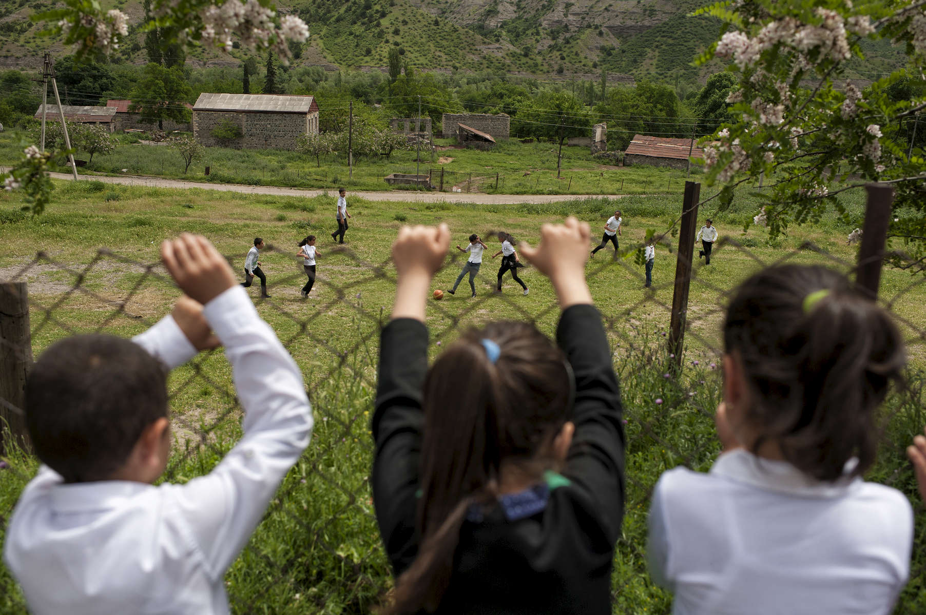 Children attend school in Tsaghkaberd village.  The school serves children from both Tsaghkaberd and Maratuk villages, but the road between them was, until it was very recently cleared by HALO Trust, heavily mined - making the journey very difficult.