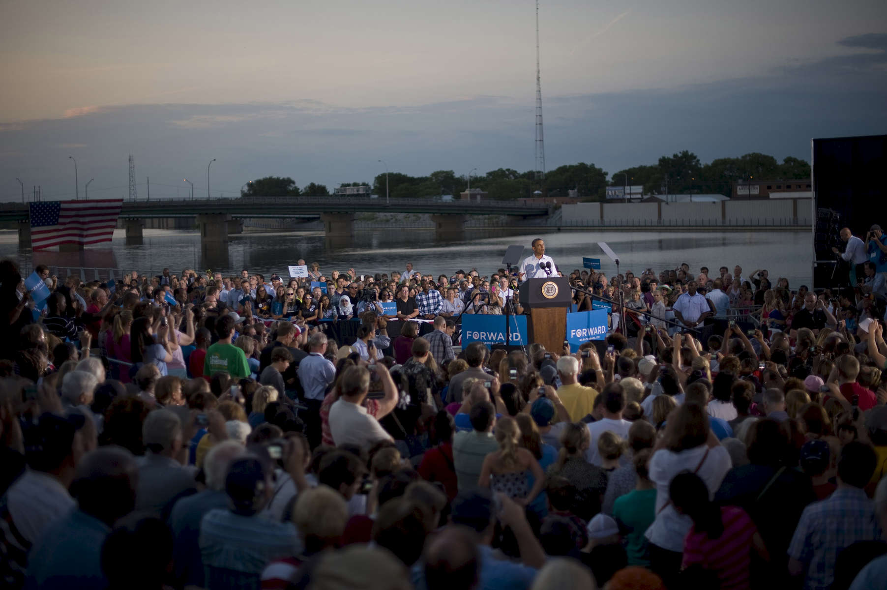 August 14th, 2012 - WATERLOO, IOWA: President Barack Obama speaks at an event in Waterloo, IA. (Scout Tufankjian for Obama for America/Polaris)