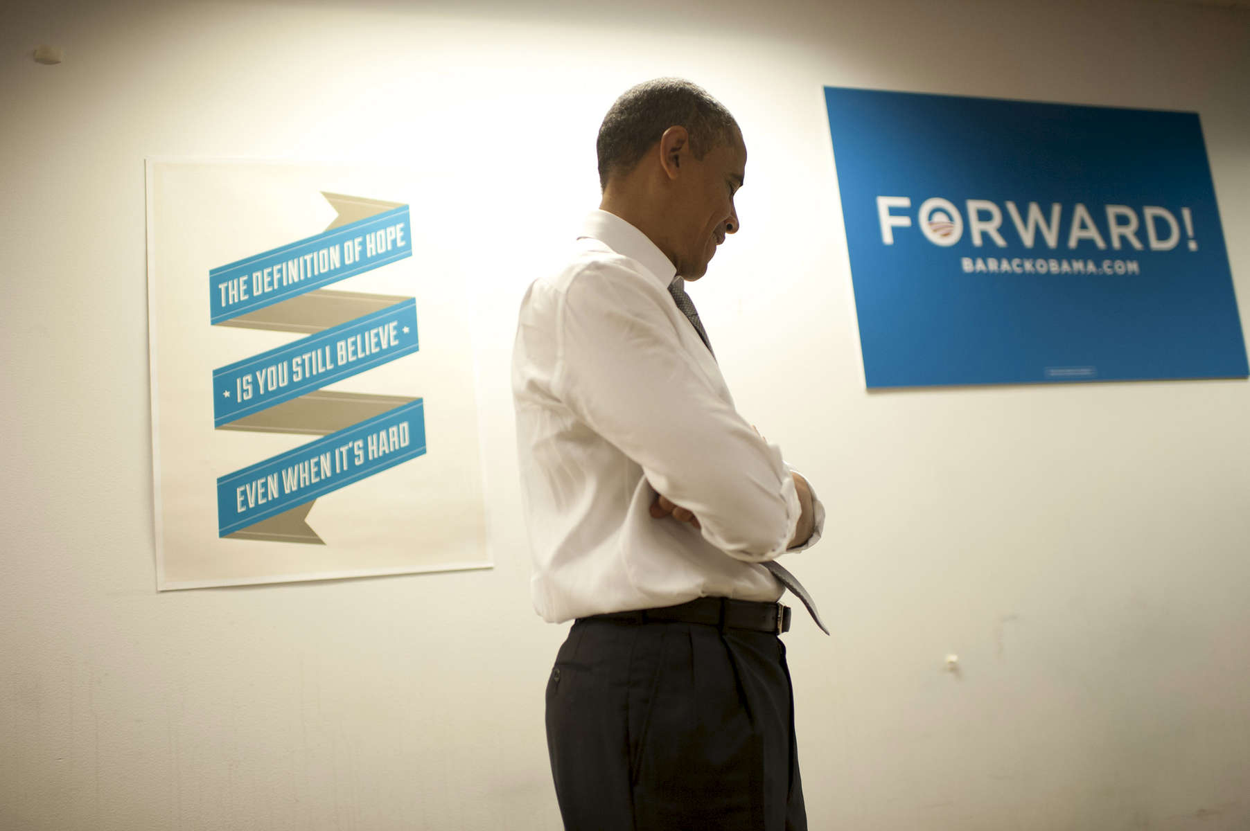 November 8, 2012 - Chicago, IL: President Barack Obama waits to speak to his campaign staff the day after he was elected to a second term as President of the United States.  (Scout Tufankjian for Obama for America/Polaris)