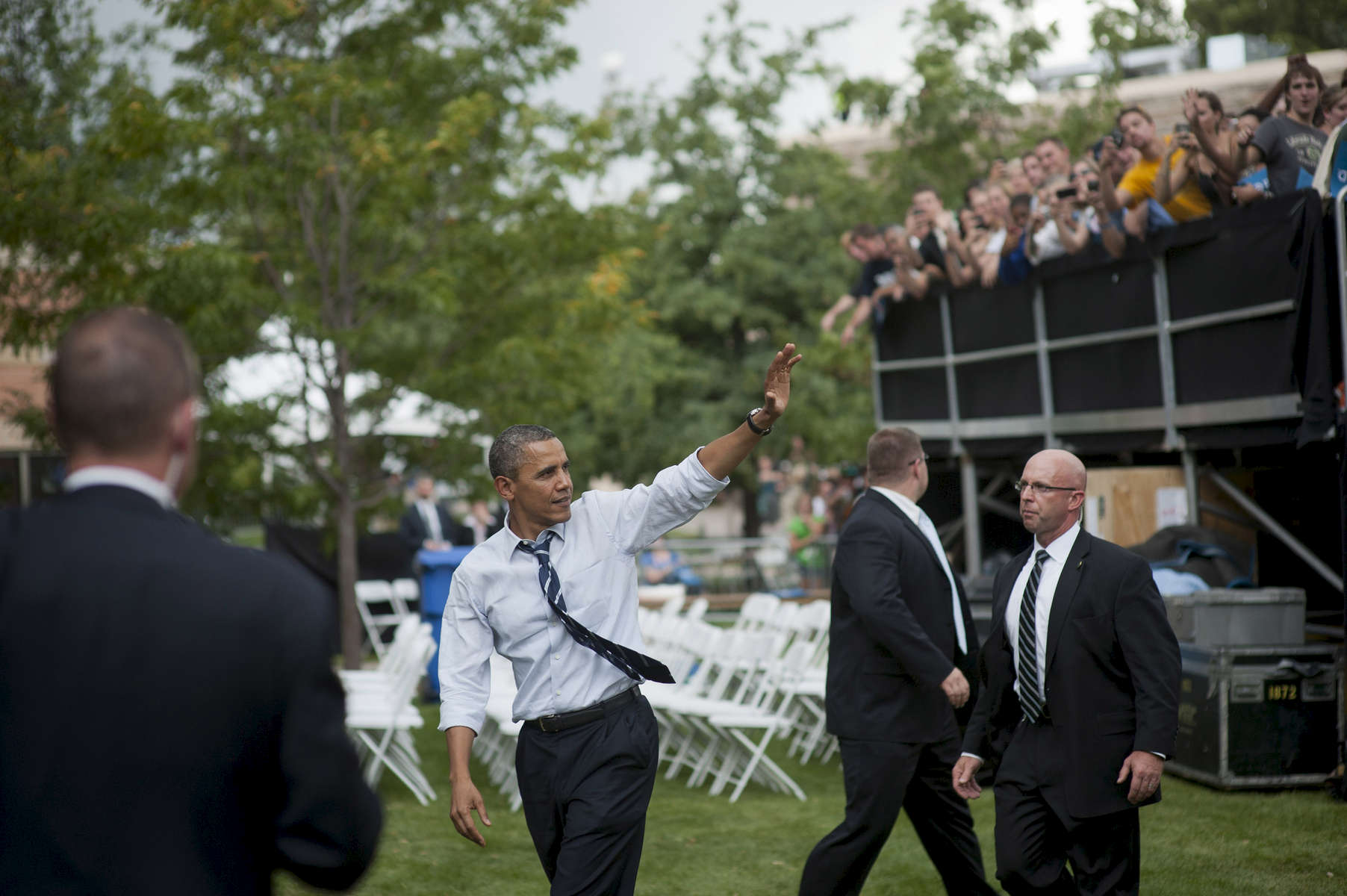 August 28, 2012- Fort Collins, CO:  President Barack Obama waves to the crowd after a campaign event in Fort Collins, CO.  (Scout Tufankjian for Obama for America/Polaris)