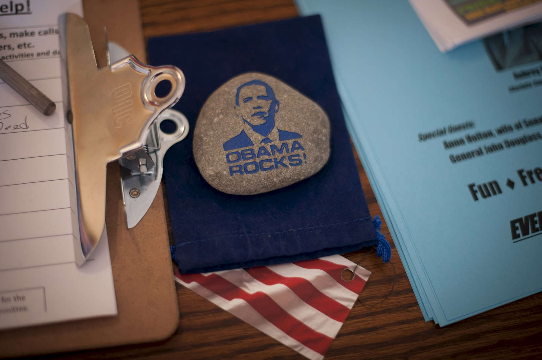 August 29, 2012- Charlottesville, VA: A rock with the emblem {quote}Obama Rocks!{quote} lies on a desk at an Obama campaign field office in Charlottesville, VA.  (Scout Tufankjian for Obama for America/Polaris)