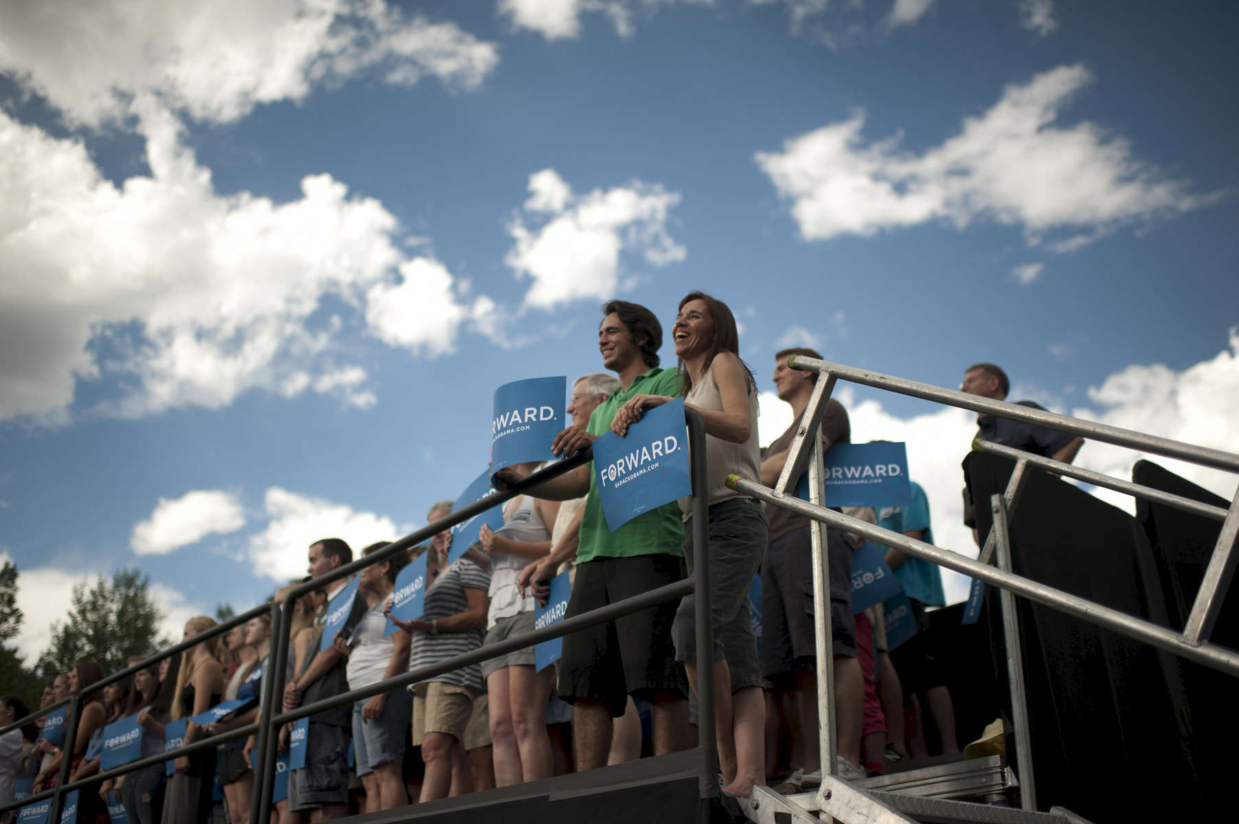 September 2, 2012 - Boulder, CO: Supporters listen as President Barack Obama speaks at a campaign event at the University of Colorado Boulder. (Scout Tufankjian for Obama for America/Polaris)