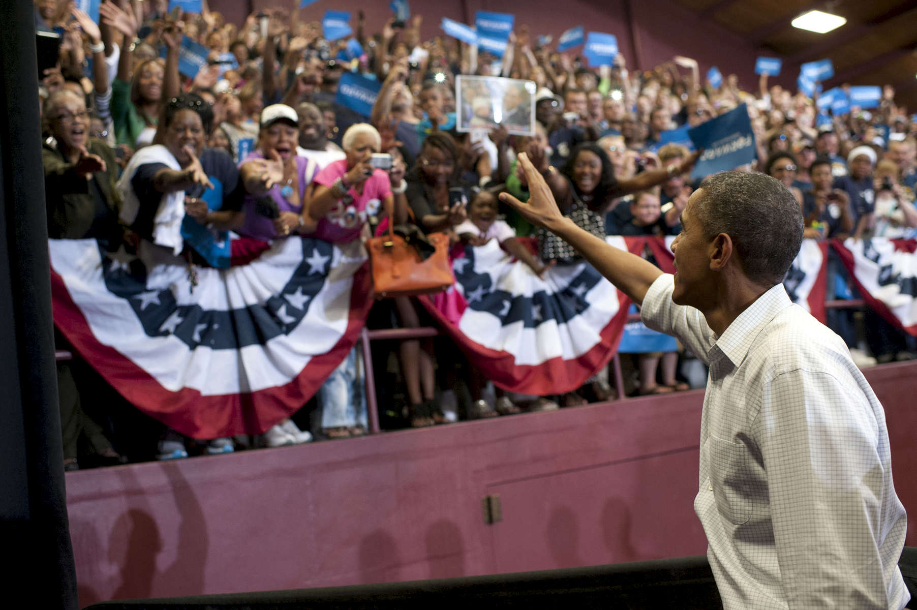 September 3, 2012 - TOLEDO, OH: President Barack Obama waves to supporters at a Labor Day rally in Toledo, OH. (Scout Tufankjian for Obama for America/Polaris)