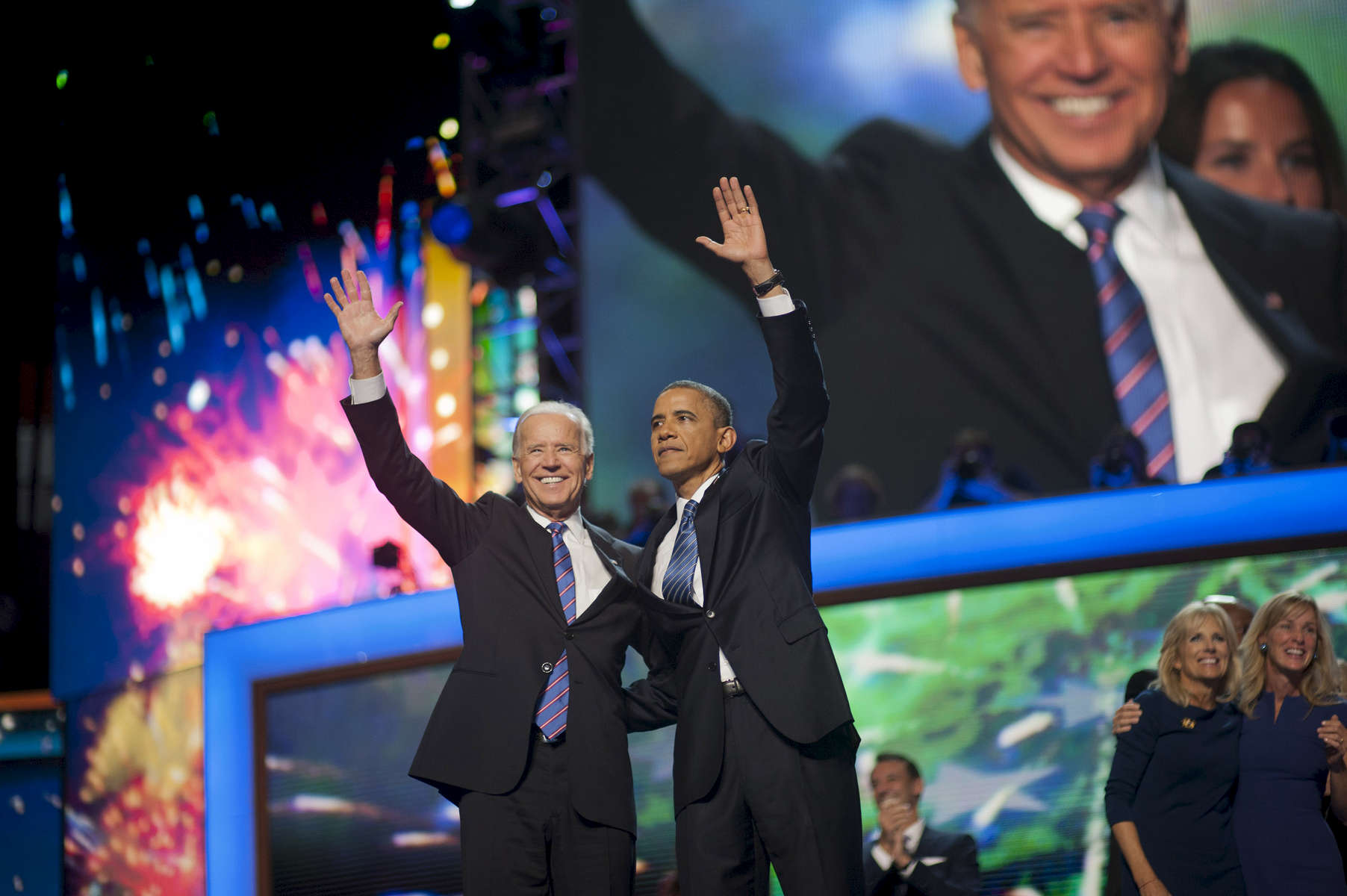 September 6, 2012 - CHARLOTTE, NC: President Barack Obama and Vice President Joe Biden wave to the crowd at the 2012 Democratic National Convention in Charlotte. (Scout Tufankjian for Obama for America/Polaris)