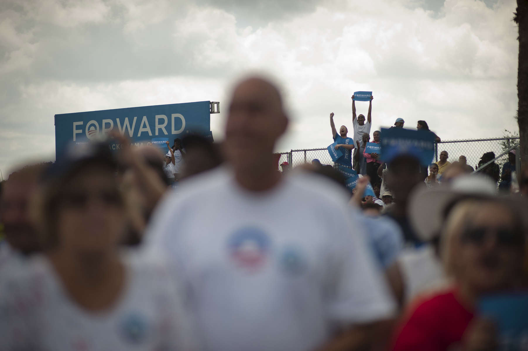 September 8, 2012 - St. Petersburg, FL: Supporters cheer and wave signs as President Barack Obama speaks at a campaign event at St. Petersburg College's Seminole Campus. (Scout Tufankjian for Obama for America/Polaris)