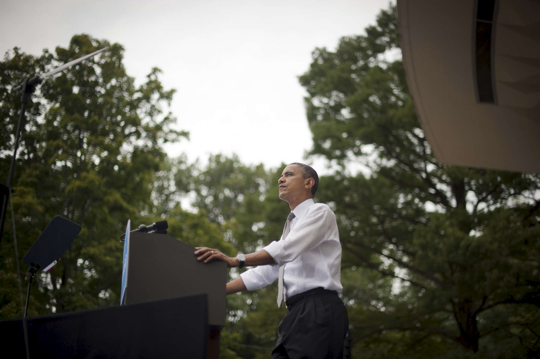 September 17, 2012 - Mt. Adams, OH: President Barack Obama  speaks at a campaign event in Mt. Adams, Ohio. (Scout Tufankjian for Obama for America/Polaris)
