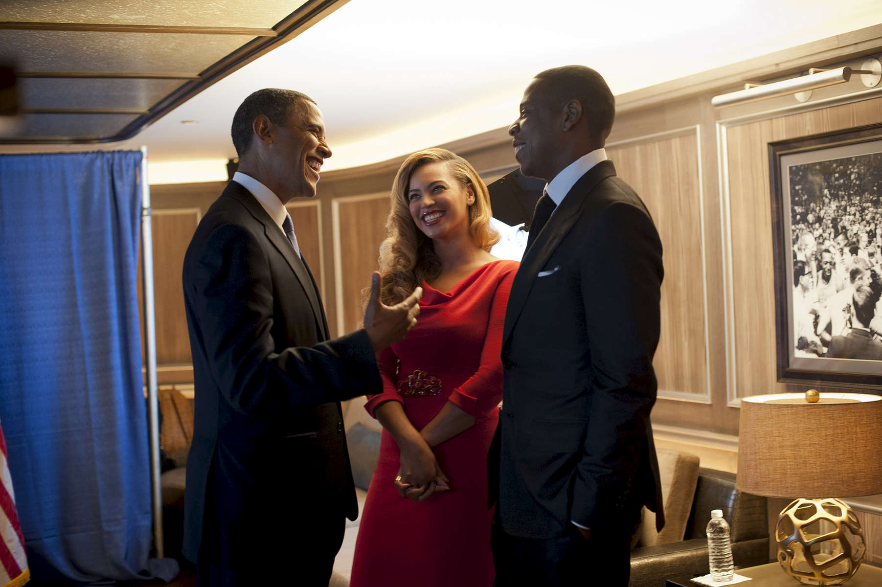 September 18, 2012 - New York, NY: President Barack Obama chats with pop star Beyonce Knowles and rapper Jay-Z backstage at a fundraiser at Jay-Z's 40/40 Club in New York City in September 2012. (Scout Tufankjian for Obama for America/Polaris)