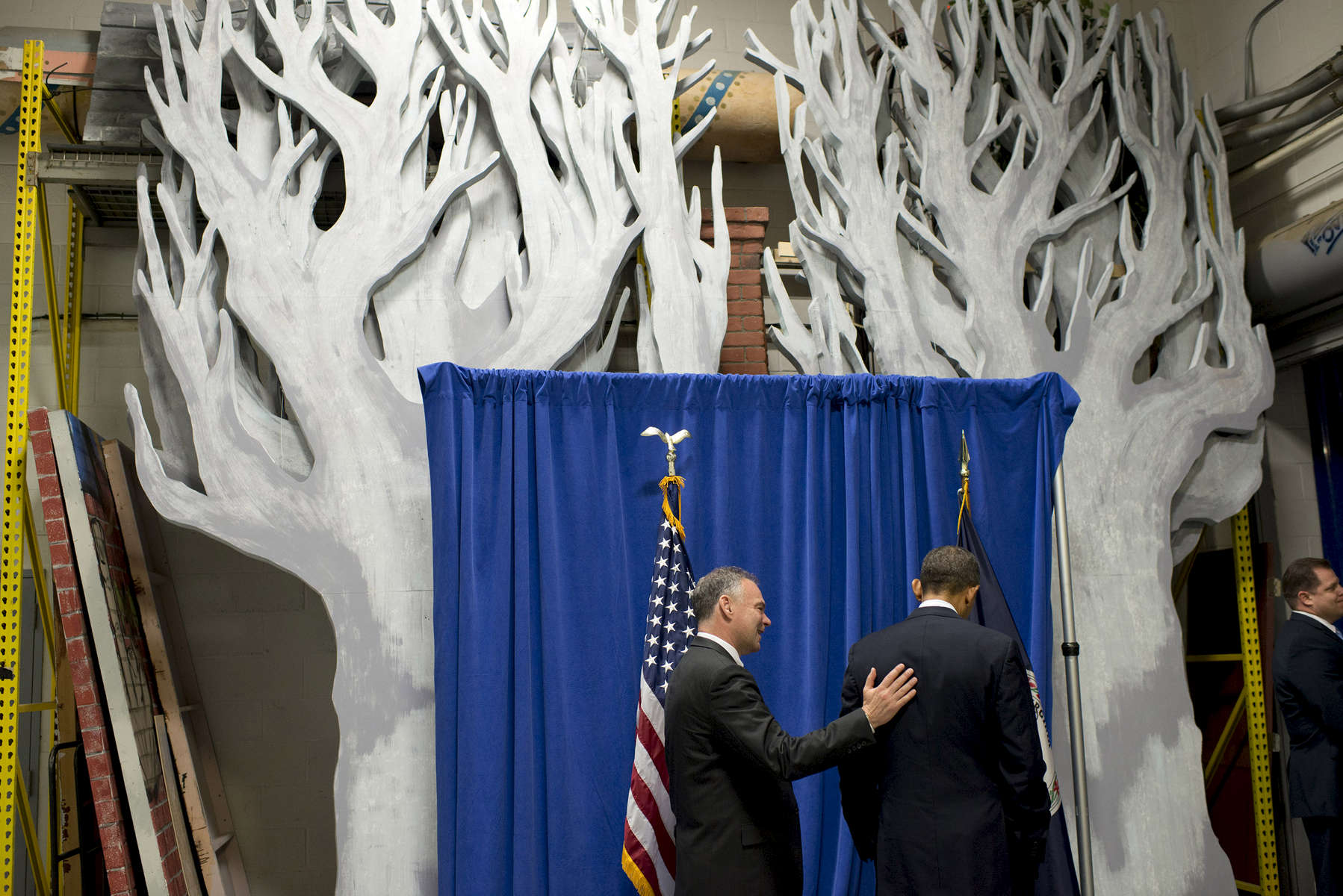 October 5, 2012 - Fairfax, VA: Former Virginia Governor Tim Kaine pats President Barack Obama on the back as they chat backstage at the George Mason University Center for the Arts Concert Hall.  (Scout Tufankjian for Obama for America/Polaris)