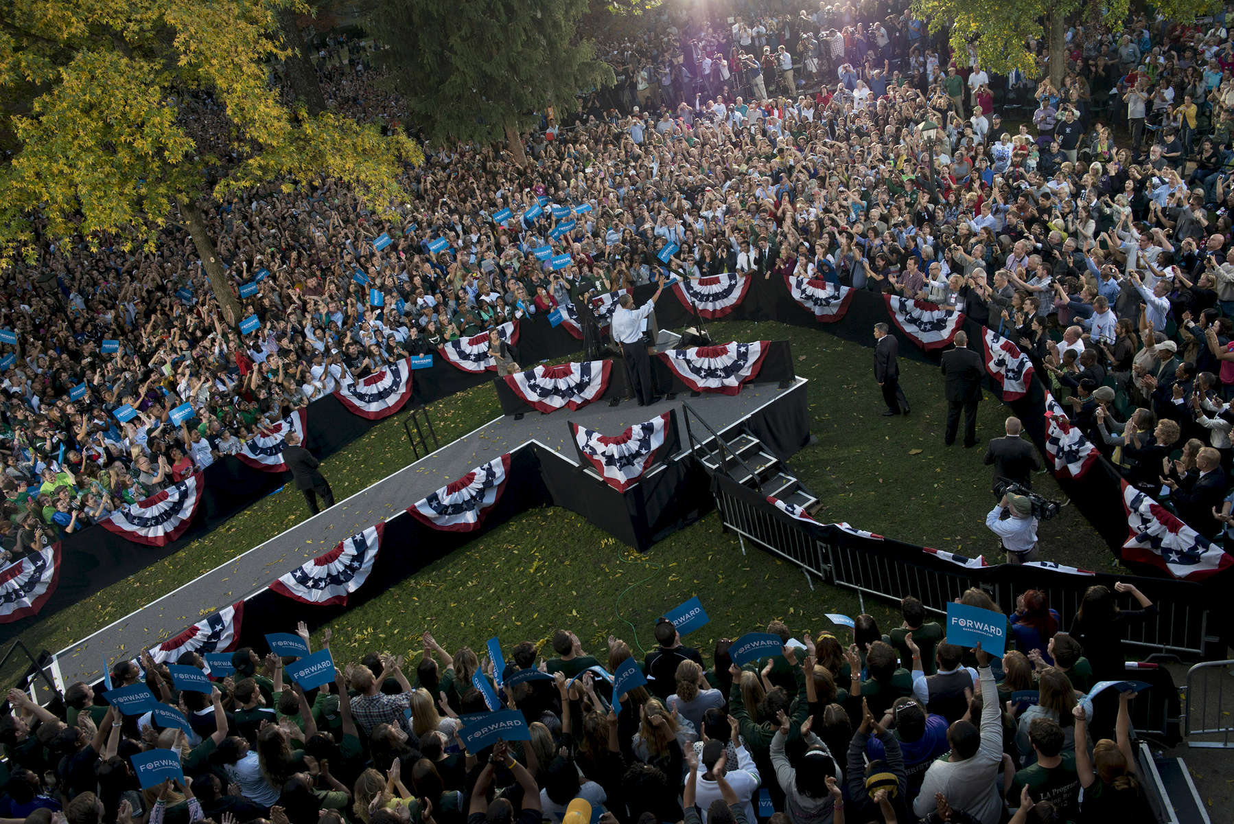 October 17, 2012 - Athens, OH: President Barack Obama speaks at a campaign event at Ohio University in Athens. (Scout Tufankjian for Obama for America/Polaris)