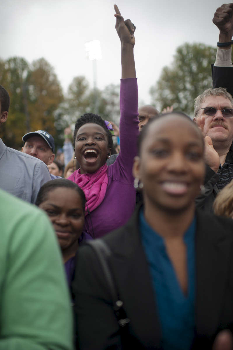 October 19, 2012 - Fairfax, VA:  A supporter reacts as President Barack Obama speaks at a campaign event in Fairfax, VA. (Scout Tufankjian for Obama for America/Polaris)