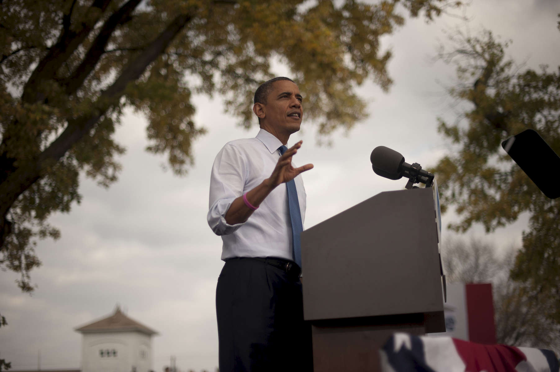 October 24, 2012 - Davenport, IA:  President Barack Obama speaks at a campaign event in Davenport, IA,  his first stop on a whirlwind 48 hours of straight campaigning. (Scout Tufankjian for Obama for America/Polaris)
