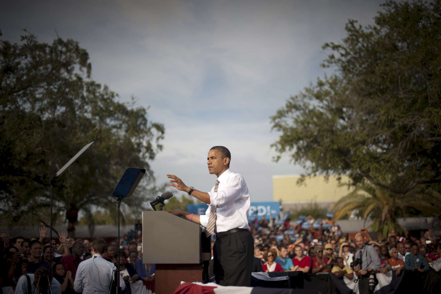 October 25, 2012 - Tampa, FL:  President Barack Obama speaks at a rally in Tampa's Centennial Park during a 48 hour straight swing of campaign events. (Scout Tufankjian for Obama for America/Polaris)