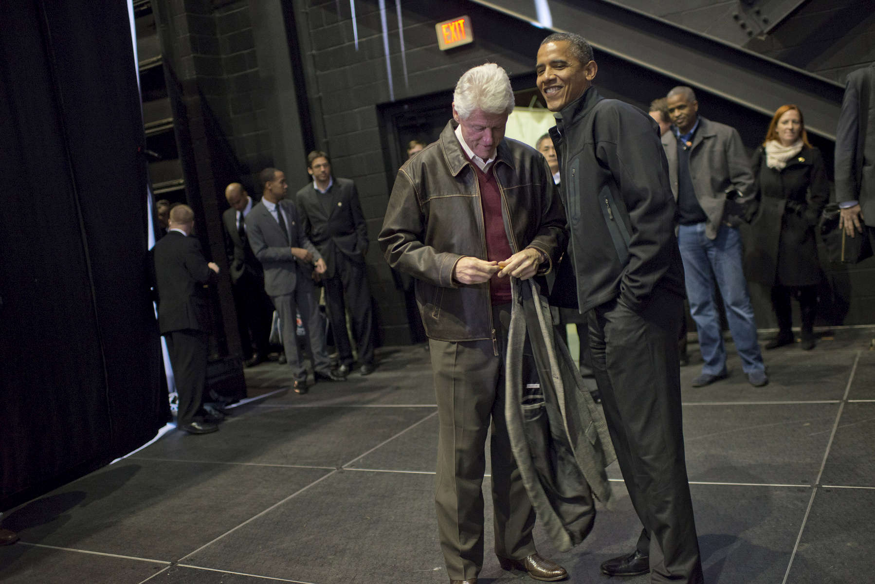 November 3, 2012 - Bristow, VA:  President Barack Obama chats with former President Bill Clinton backstage at a rally in Bristow, VA a few days before the 2012 election. (Scout Tufankjian for Obama for America/Polaris)