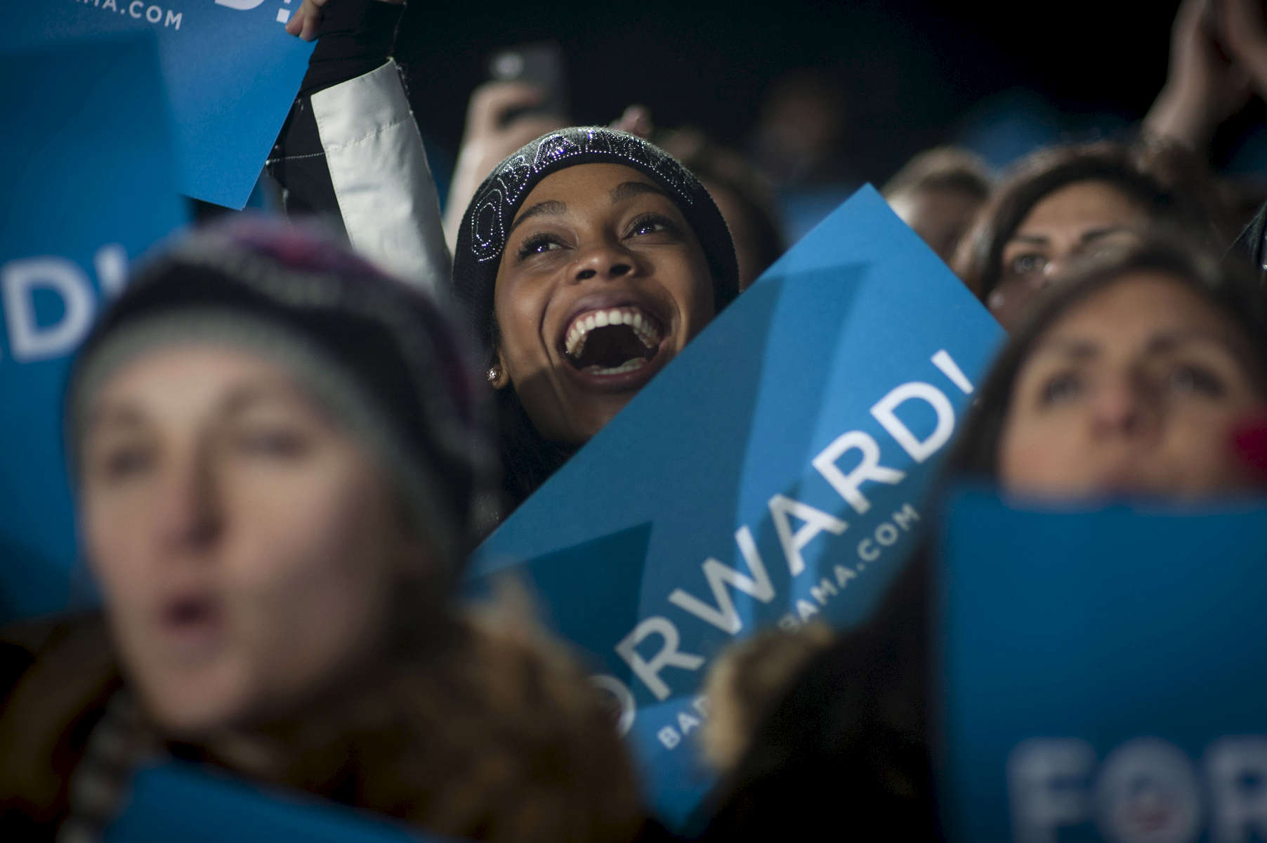 November 3, 2012 - Bristow, VA:  Supporters cheer as President Barack Obama speaks at a rally in Bristow, VA a few days before the 2012 election. (Scout Tufankjian for Obama for America/Polaris)