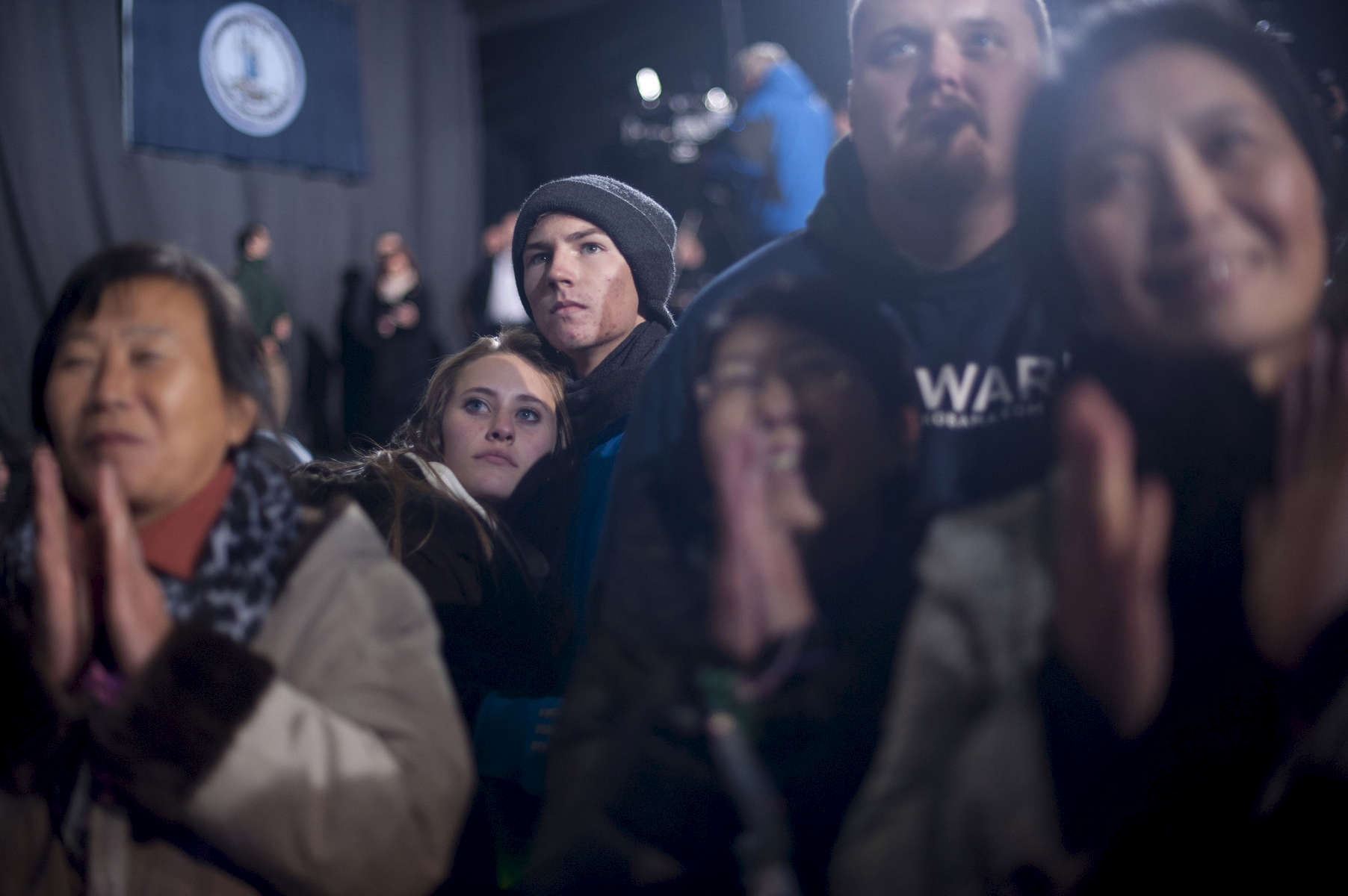 November 3, 2012 - Bristow, VA:  Supporters listen as President Barack Obama speaks at a rally in Bristow, VA a few days before the 2012 election. (Scout Tufankjian for Obama for America/Polaris)
