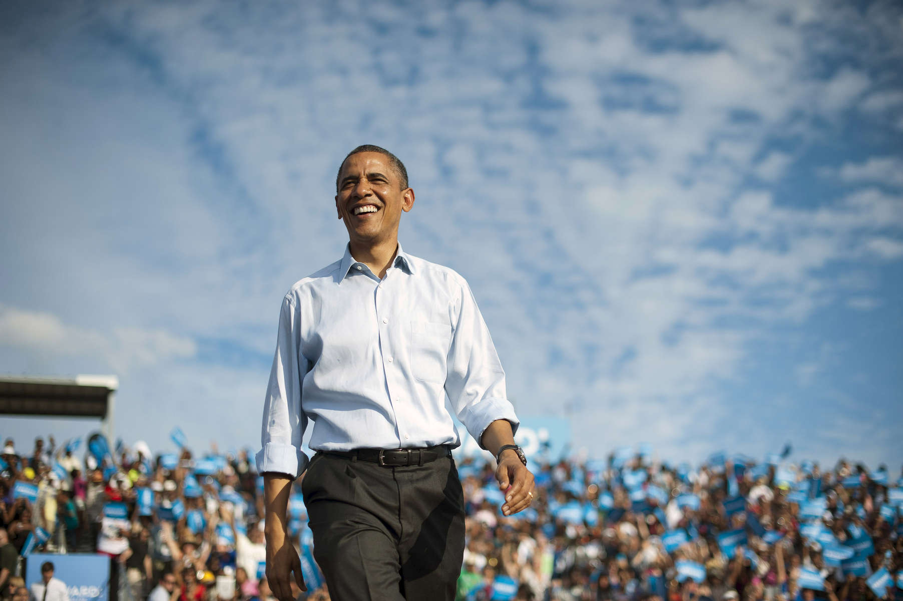 November 4, 2012 - Fort Lauderdale, FL:  President Barack Obama walks onstage at an event in Fort Lauderdale, FL a few days before the election. (Scout Tufankjian for Obama for America/Polaris)