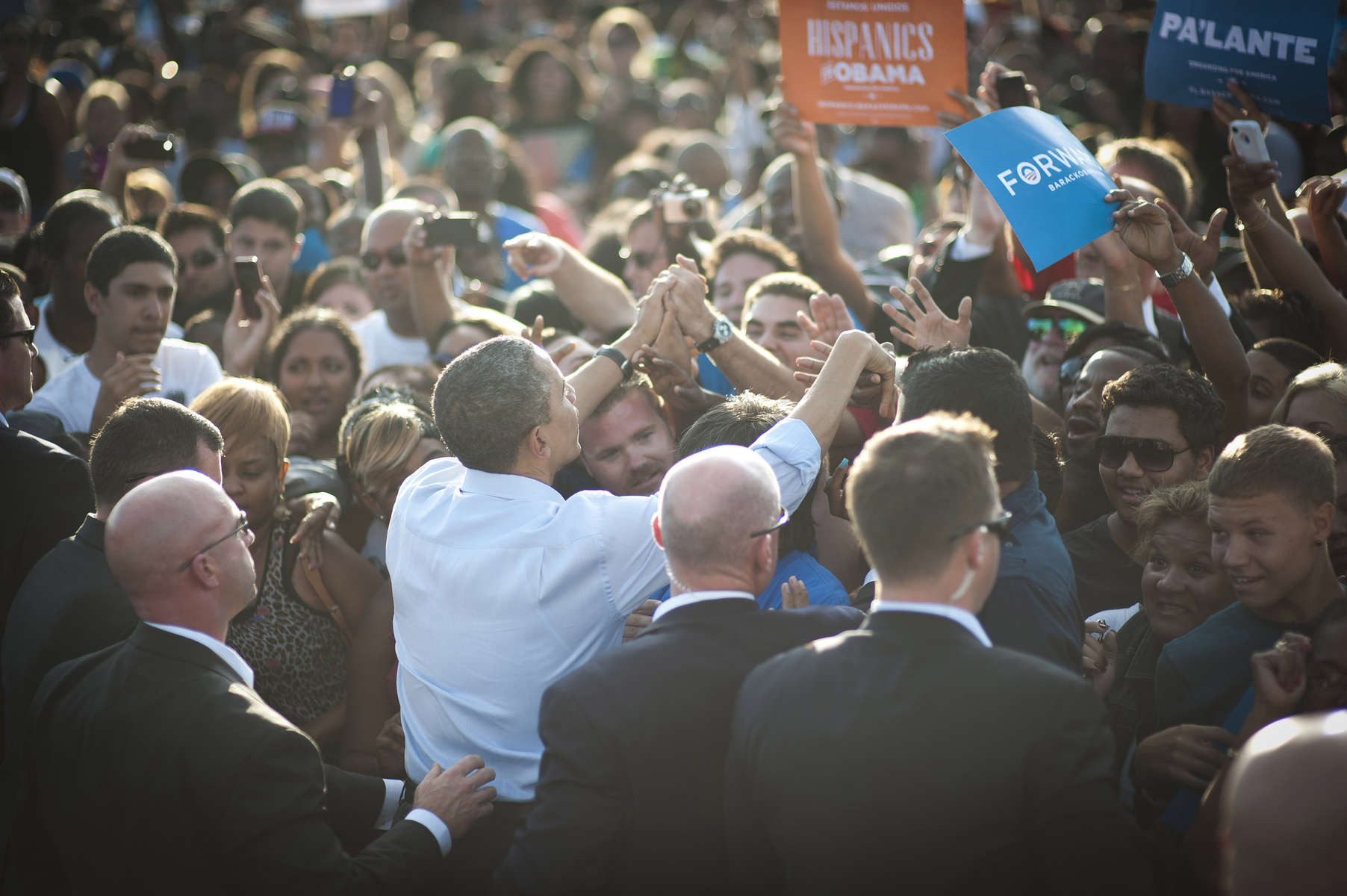 November 4, 2012 - Fort Lauderdale, FL:  President Barack Obama greets supporters after an event in Fort Lauderdale, FL. (Scout Tufankjian for Obama for America/Polaris)