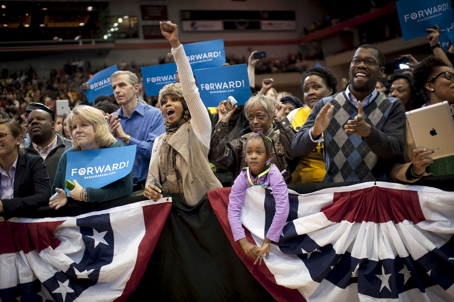 November 4, 2012 - Cincinnati, OH: Supporters cheer as President Barack Obama speaks at a rally in Cincinnati a few days before the election.  (Scout Tufankjian for Obama for America/Polaris)
