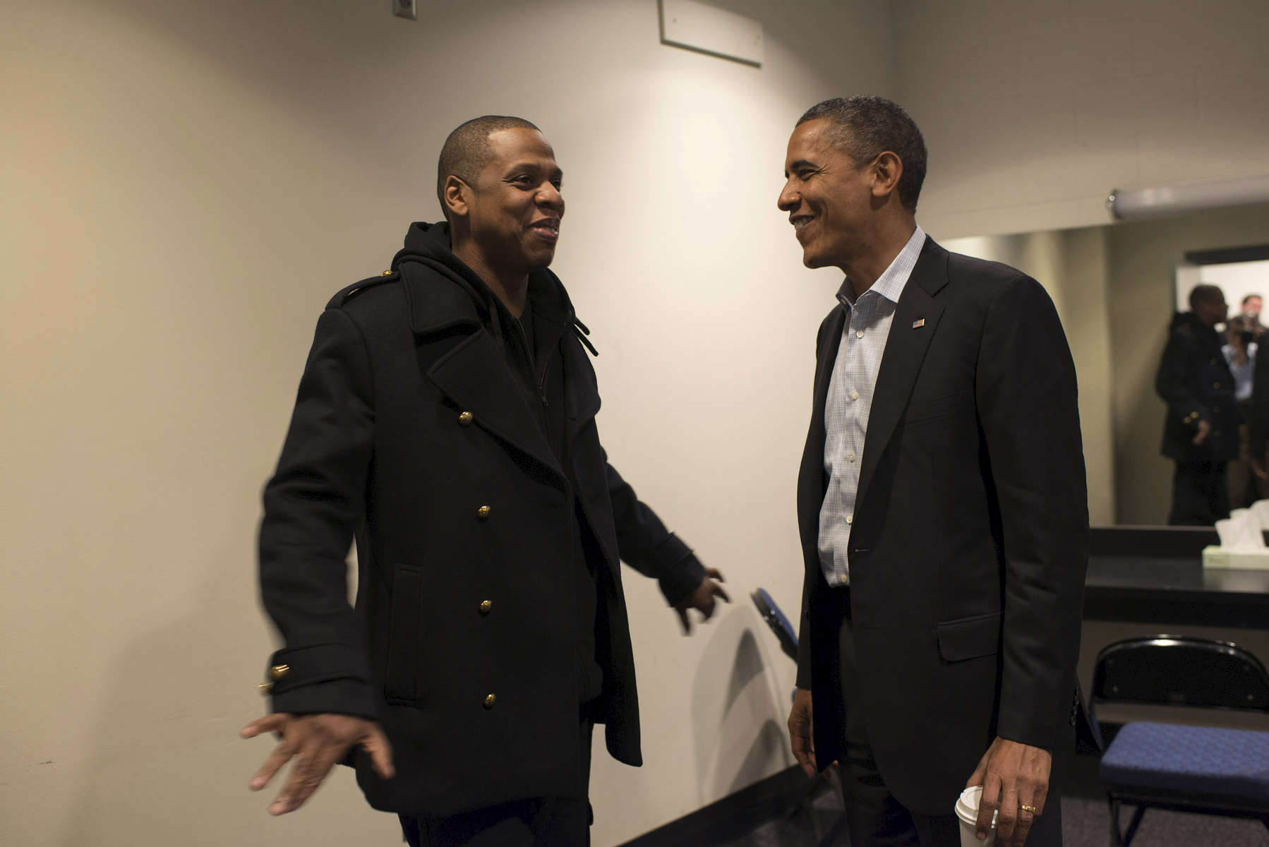 November 5, 2012  - Columbus, OH: President Barack Obama chats backstage with rapper and mogul Jay-Z before a rally in Columbus, OH.  (Scout Tufankjian for Obama for America/Polaris)