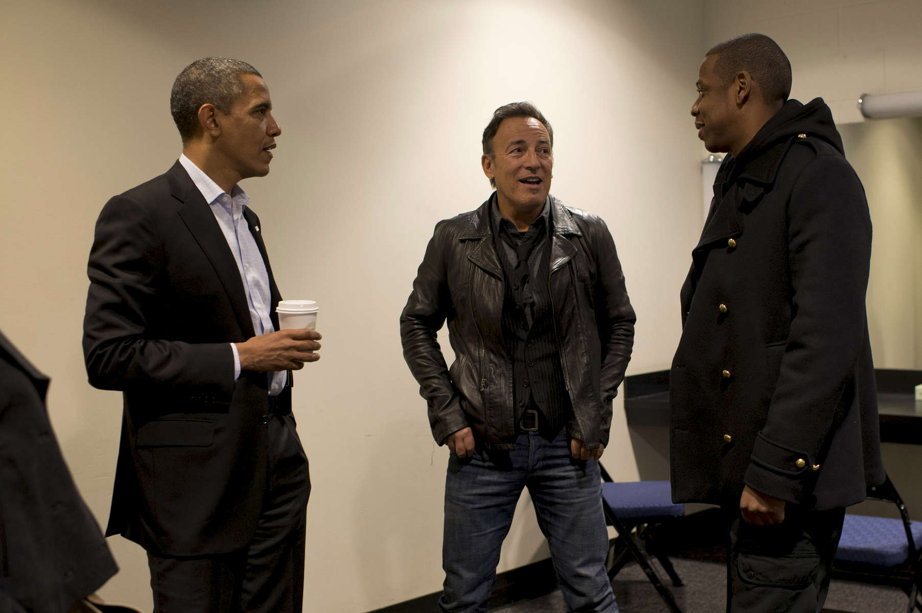 November 5, 2012  - Columbus, OH: President Barack Obama chats backstage with rock star Bruce Springsteen and rapper Jay-Z before a rally in Columbus, OH the day before the 2012 election.  (Scout Tufankjian for Obama for America/Polaris)