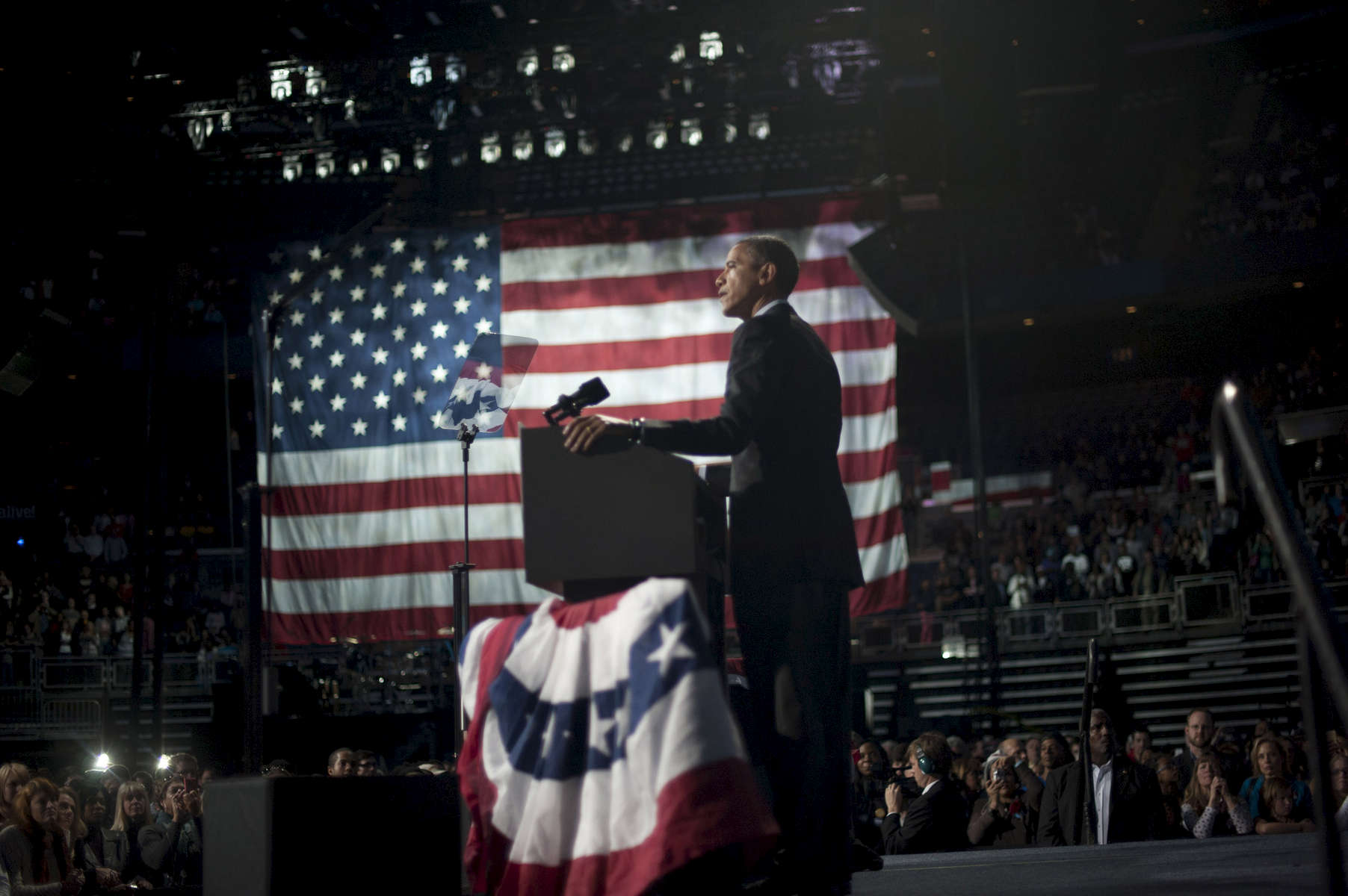 November 5, 2012  - President Barack Obama speaks at a rally in Columbus, OH the day before the 2012 election.  (Scout Tufankjian for Obama for America/Polaris)