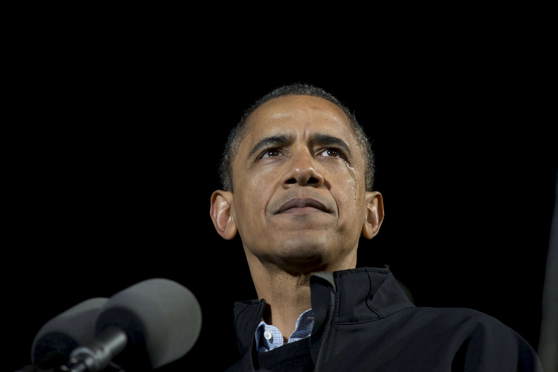 November 5, 2012 - Des Moines, IA:  President Barack Obama weeps as he speaks at his last ever campaign event the night before the 2012 election. (Scout Tufankjian for Obama for America/Polaris)