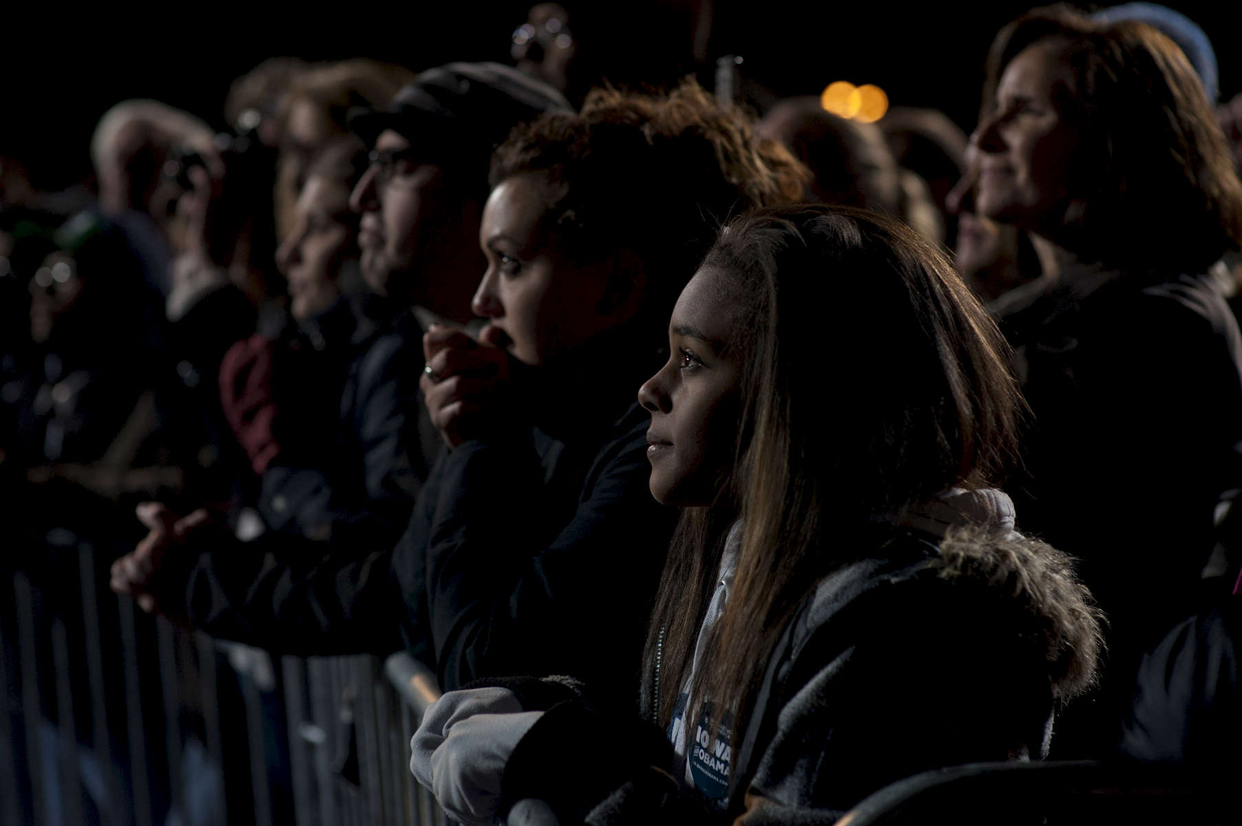 November 5, 2012 - Des Moines, IA:  Supporters listen as President Barack Obama  speaks at his last ever campaign event the night before the 2012 election. (Scout Tufankjian for Obama for America/Polaris)