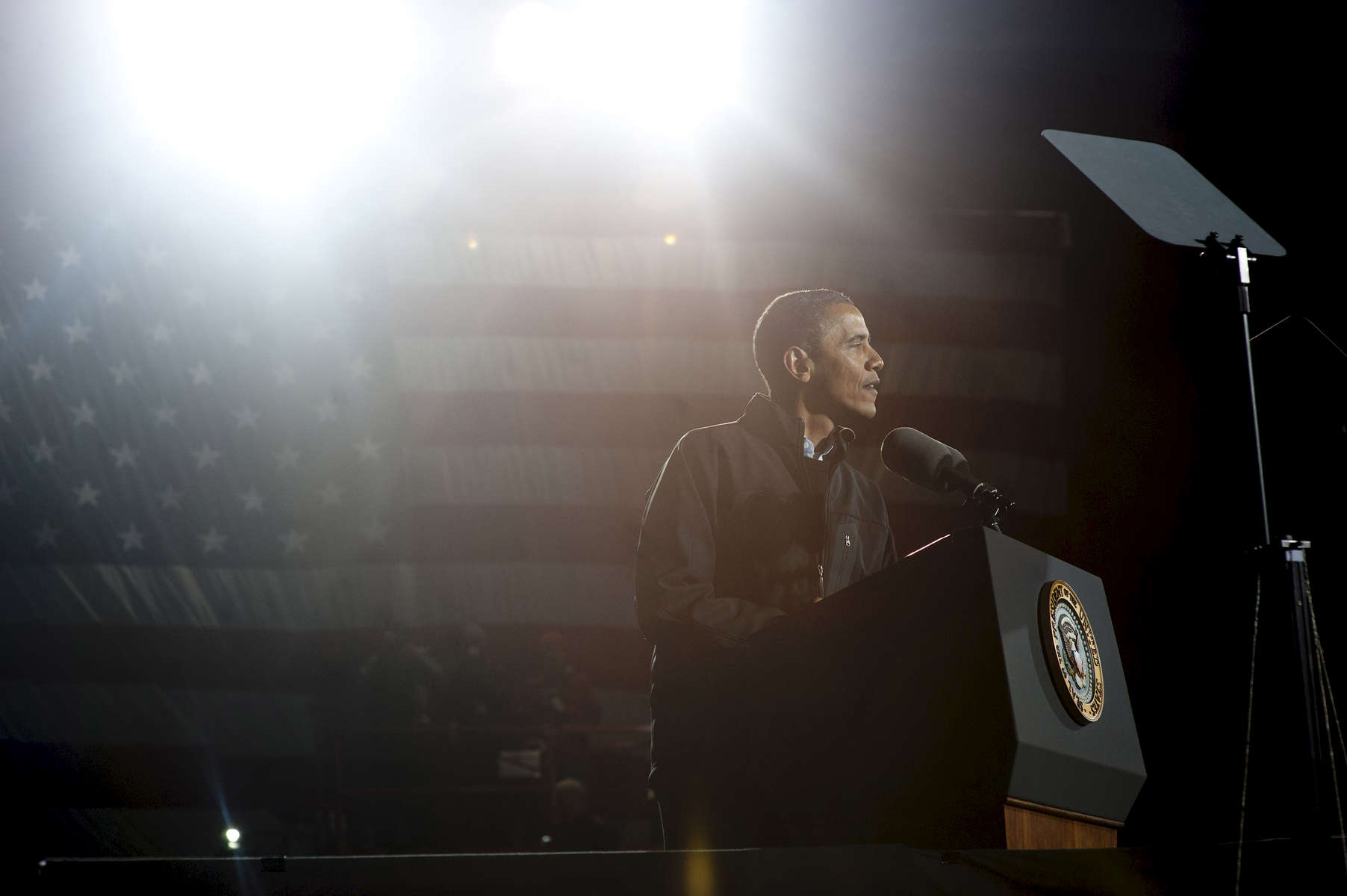 November 5, 2012 - Des Moines, IA:  President Barack Obama  speaks at his last ever campaign event the night before the 2012 election. (Scout Tufankjian for Obama for America/Polaris)