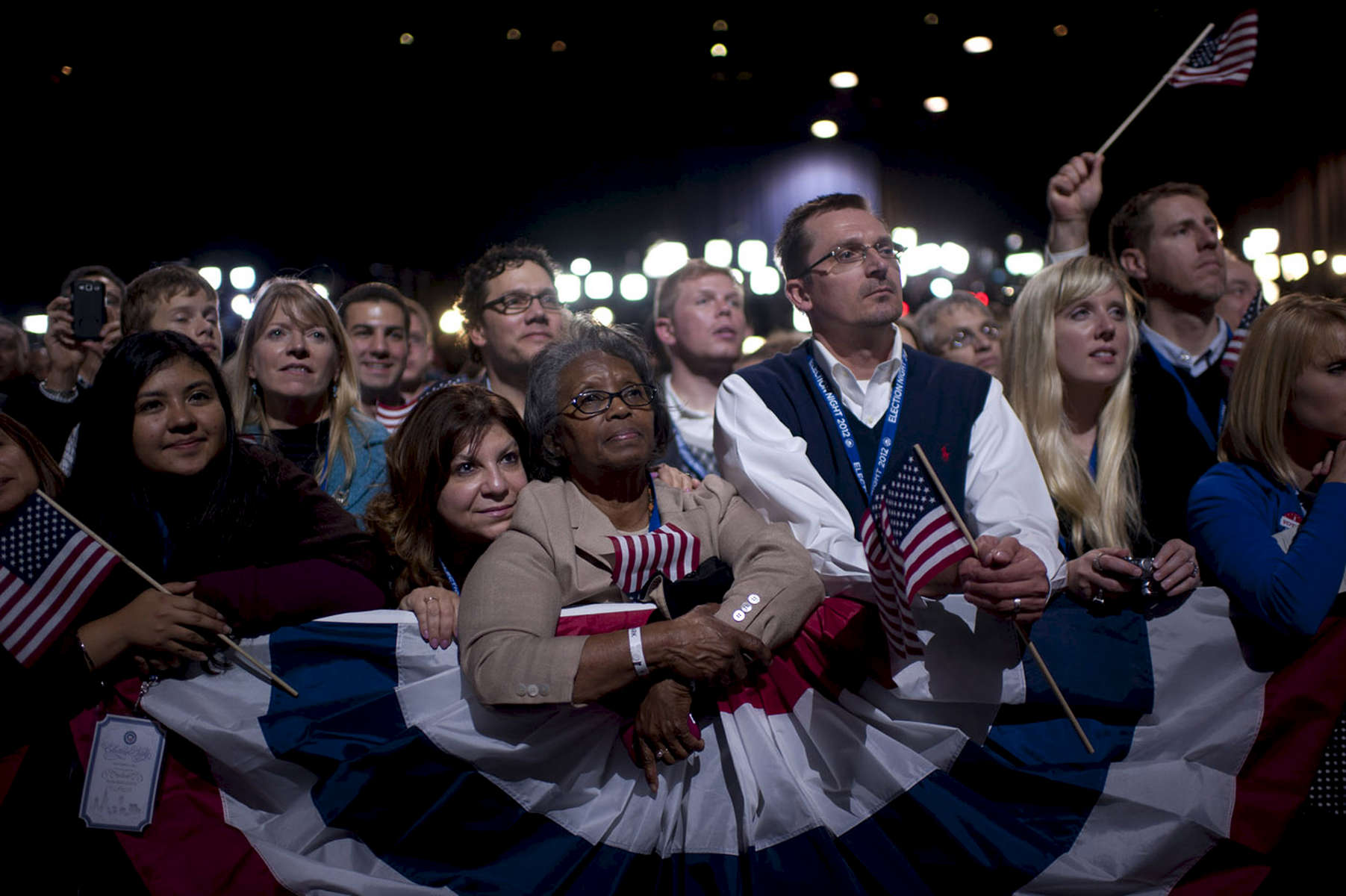 November 7, 2012: Chicago, IL:  Supporters listen as President Barack Obama speaks at a victory rally at McCormick Place on Election Night after winning a second term as President of the United States. (Scout Tufankjian for Obama for America/Polaris)