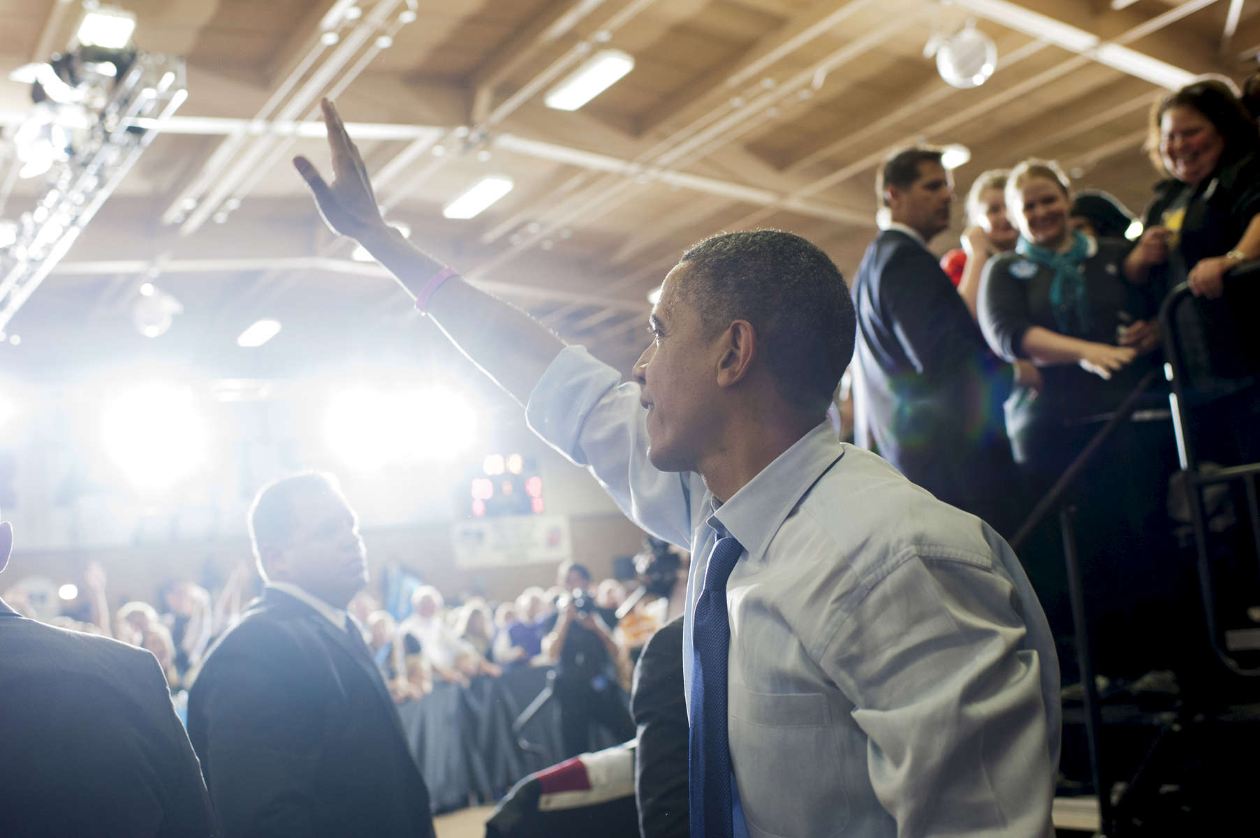 October 17, 2012 - Mount Vernon, IA: President Barack Obama waves to supporters after a campaign event at Cornell College in Mount Vernon, IA.  (Scout Tufankjian for Obama for America/Polaris)