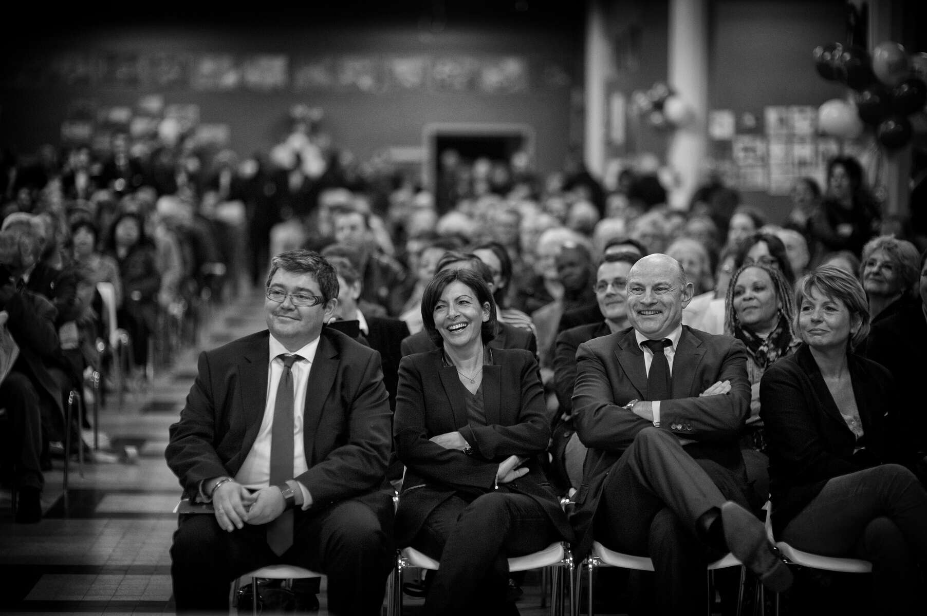 March 11, 2014.  PARIS, FRANCE- Mayoral candidate Anne Hidalgo attends a campaign event at Ecole Rouge in Paris' 13th Quarter.  For the first time in France's history, Paris will have a woman as a mayor - either Socialist Anne Hidalgo or Center-Right Nathalie Kosciusko-Morizet.  Photo by Scout Tufankjian