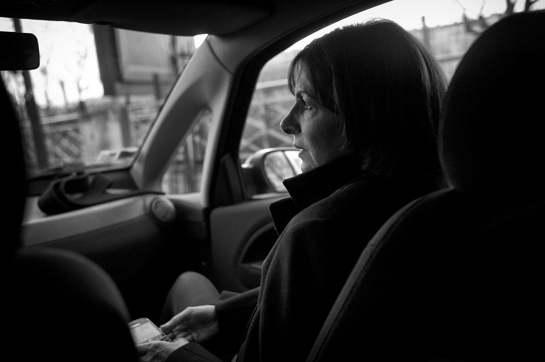 March 12, 2014.  PARIS, FRANCE- Mayoral candidate Anne Hidalgo rides in her tiny smart car to an appearance on Canal Plus.  For the first time in France's history, Paris will have a woman as a mayor - either Socialist Anne Hidalgo or Center-Right Nathalie Kosciusko-Morizet.  Photo by Scout Tufankjian